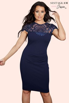 Sistaglam Loves Jessica Lace Midi Dress