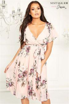 فستان شيفون ملفوف من Sistaglam Loves Jessica