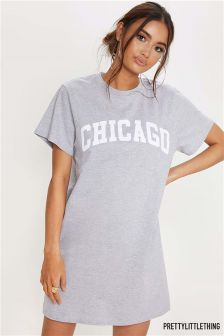 PrettyLittleThing Oversized Slogan T-Shirt Dress