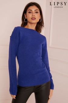 Lipsy Button Detail Off The Shoulder Jumper