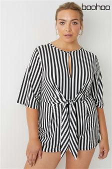 Boohoo Plus Striped Tie Front Playsuit