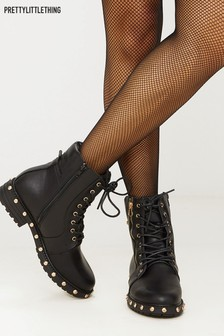 Bottines PrettyLittleThing cloutées style motard