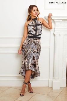 Sistaglam Animal Print Halter Neck Dress