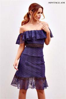 Sistaglam Lace Bardot Shift Dress