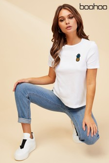 Boohoo Pineapple Embroidered T-Shirt