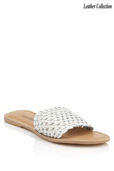 Leather Collection Woven Sliders