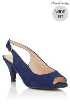 Anne Michelle Wide Fit Peep Toe Sling Backs Heels