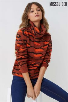 Missguided Animal Roll Neck Jumper