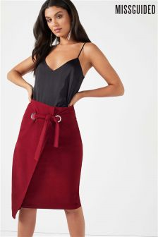 Missguided Belted Wrap Pencil Skirt