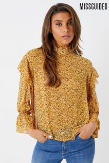 Missguided Floral Ruffle Blouse