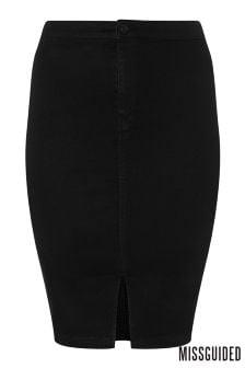 Missguided Curve Midi High Waist Skirt