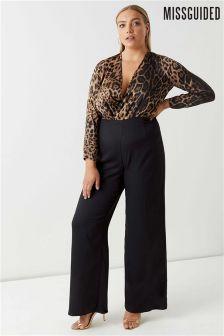 Missguided Curve Contrast Leopard Print Jumpsuit