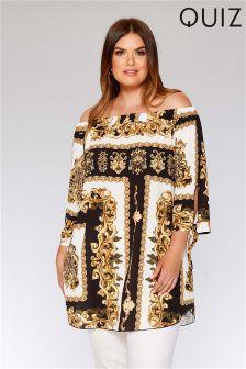 Quiz Curve Scarf Print Bardot Tunic Dress