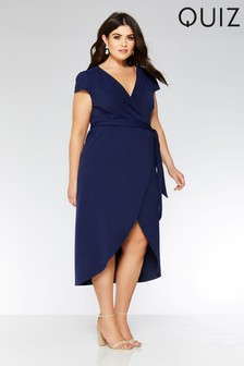 Quiz Curve Wrap Tie Belt Dip Hem Dress