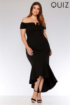 Quiz Curve Bardot V Bar Fishtail Maxi Dress