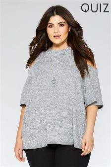 Quiz Curve Cold Shoulder Necklace Top