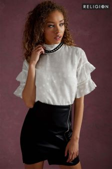 Religion High Neck Ruffle Top