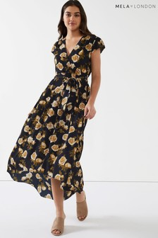 Mela London Floral High Front Maxi Dress