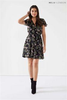Mela London Printed Ruffle Sleeve Dress