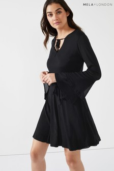 Mela London Double Trumpet Sleeve Dress