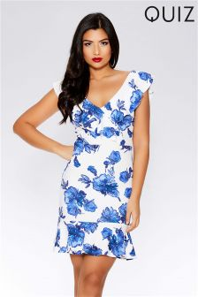 Quiz Floral Bodycon Frill Dress