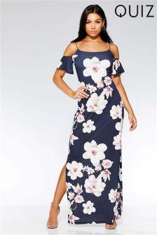 Quiz Cold Shoulder Floral Maxi Dress