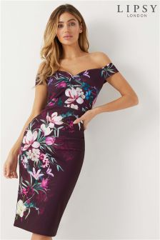 Lipsy Maya Print Bardot Dress