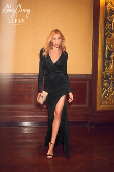 Abbey Clancy x Lipsy Glitter Wrap Maxi Dress