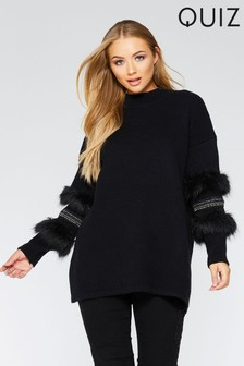 Quiz Knitted Turtle Neck Faux Fur Sleeve Jumper