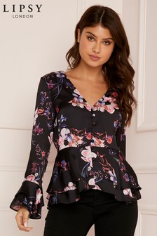 Lipsy Floral Satin Roul Button Blouse