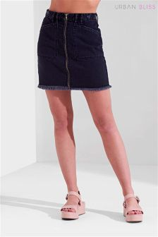 Urban Bliss Zip-Front Denim Skirt