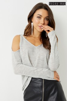 Noisy May Long Sleeve V-Neck Jumper
