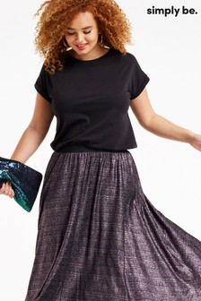 Simply Be Glitter Pleat Jersey Maxi Skirt