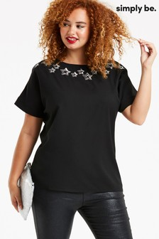 Simply Be Star Embellished Boxy Top