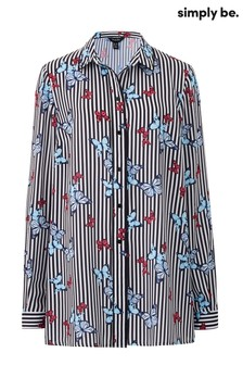 Simply Be Longline Butterfly Print Shirt