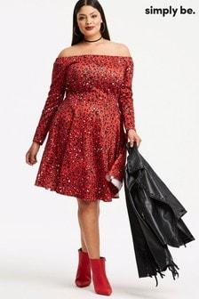 Simply Be Animal Print Bardot Dress