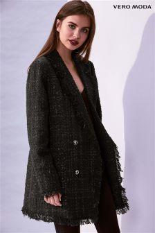Vero Moda Fringed Tweed Light Coat