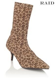 Raid Leopard Print Sock Boots