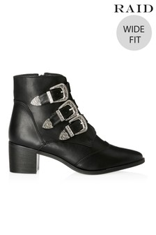 Raid Wide Fit Block Heel Ankle Boot With Buckle Detail