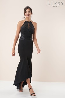 Lipsy Sequin Halter Neck Maxi Dress