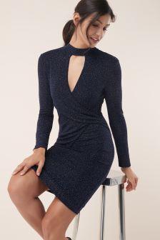 Glitter Cross front Midi Dress
