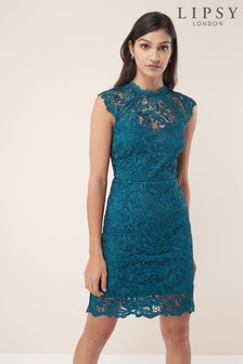 Flute Hem All Over Lace Midi Dress