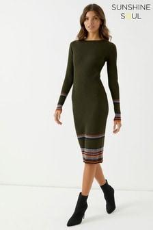 Sunshine Soul Border Stripe Midi Dress