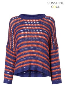 Sunshine Soul Open Knit Strip Boxy Jumper