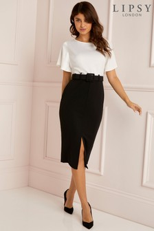 Lipsy Mono 2 In 1 Bodycon Belted Dress