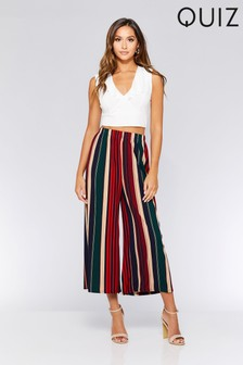 Quiz Pleated Stripe Culotte Trousers