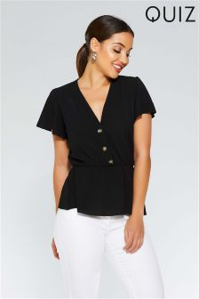 Quiz Button Front Flute Sleeve Peplum Top