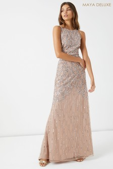 Maya Crossback Cage Embellished Maxi Dress