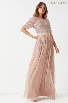 Maya Embellished Short Sleeve Ruffle Hem Maxi Dress