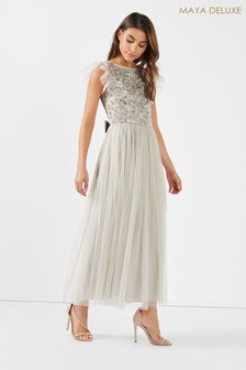 Maya Cut Out Back Embellished Bodice Tiered Maxi Dress